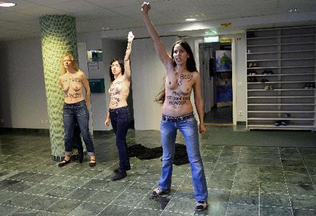 Stockholm'da FEMEN'den İlginç  Protesto