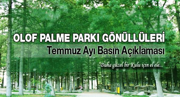Olof Palme Parkı Gönüllüleri Basın Açıklaması